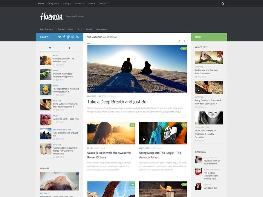 قالب وبلاگی و مجله ای Hueman