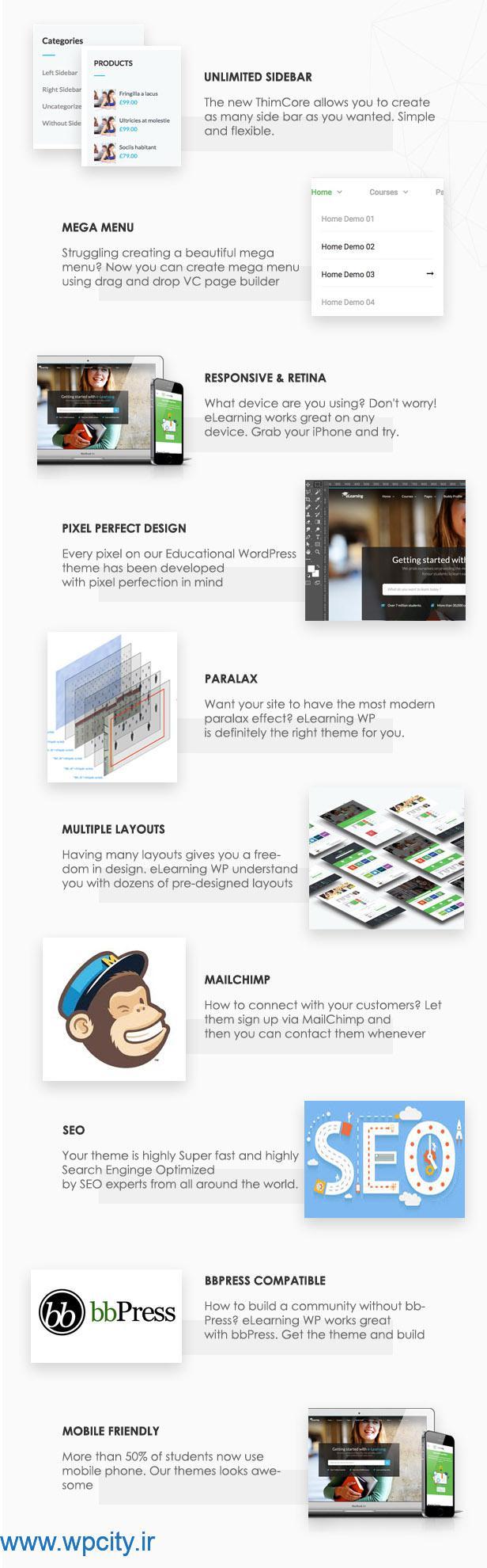 ویژگی های دیگرقالب آموزشگاهی eLearningWP