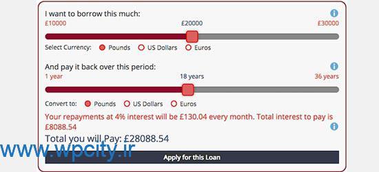 افزونهRepayment Calculator and Loan Application Form